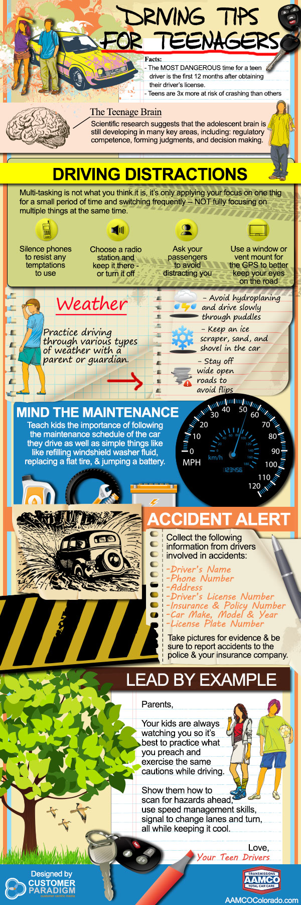 Infographic on Driving Tips for Teenagers - AAMCO Colorado