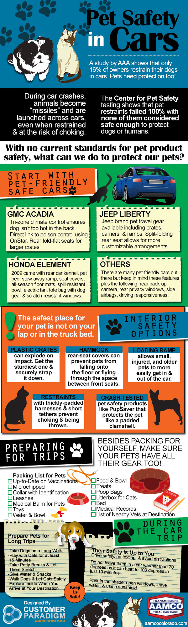 Pet Safety In Cars Infographic - AAMCO Colorado