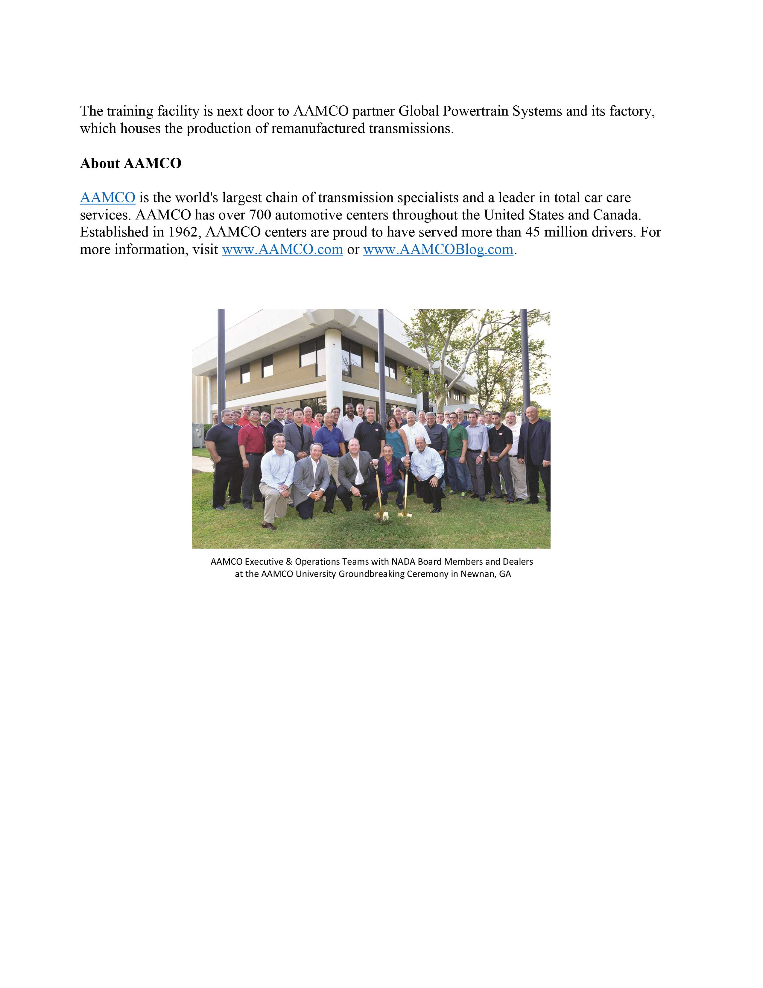 AAMCO University Press Release