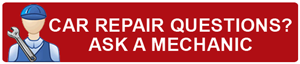 image graphic of red button with icon of a mechanic, words are Car repair questions? Ask a mechanic.