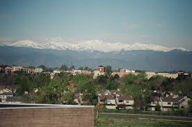 image - looking west at the snowcapped Rocky Mountains from Aurora, Colorado