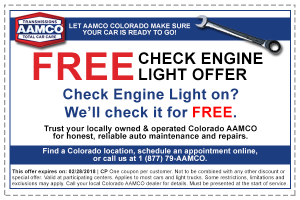 Is Your Check Engine Light On? Get a FREE Check Engine inspection to see what your car is trying to tell you. We provide an AAMCO 36-Step ProtectCheck® Inspection to make sure your car is in good shape. - AAMCO Colorado