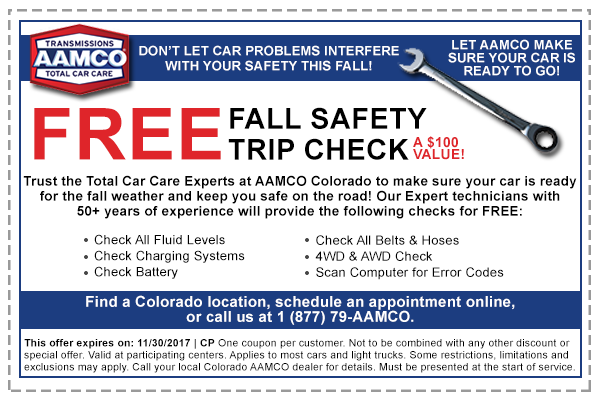 image of coupon for special offer on AAMCO Colorado auto repair and maintenance services - FREE Summer Safety Check