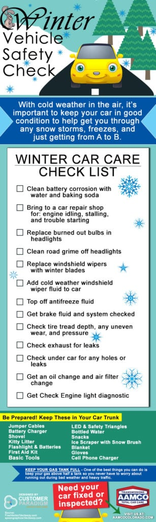 infographic of winter car care and safety checklist.