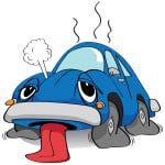 image of cartoon car, exhausted with tongue hanging out, overheated