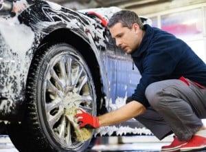 Man worker washing car