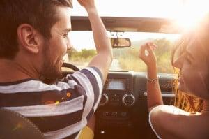 People enjoying a breezy drive.