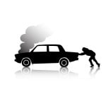 Image - silhouette of man pushing overheated car with smoking engine.