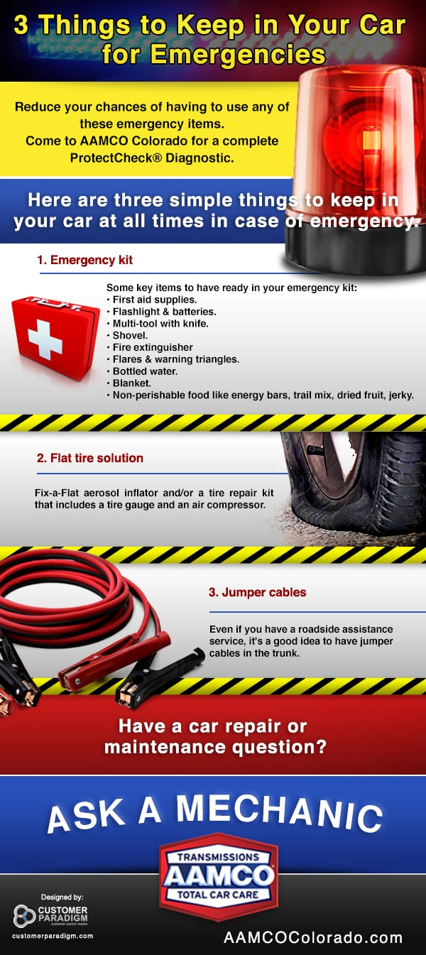 3 things to keep in your car for emergency aamco colorado. Black Bedroom Furniture Sets. Home Design Ideas