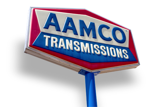 image of tall AAMCO sign that reads AAMCO Transmissions.