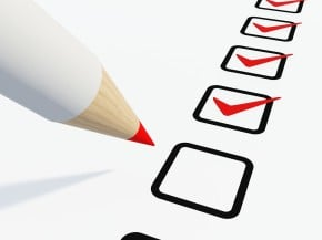 image - red pencil making check marks in check boxes on checklist