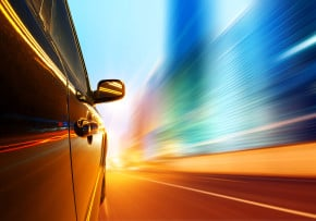 image - speeding car side view, low angle, night, high-speed
