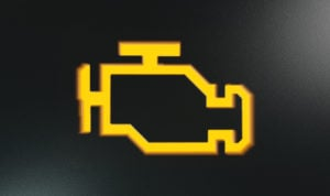 image of orange check engine lights icon that would appear on dashboard display.