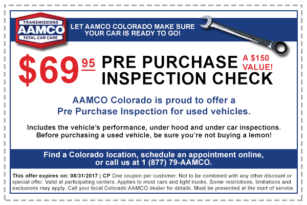 image of coupon for $69.96 pre-purchase inspection at AAMCO Colorado Transmissions and Car Repair