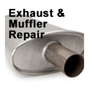 image of muffler with words Exhaust and Muffler Repair overlaid.