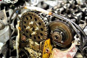 image of engine camshaft and timing chain.