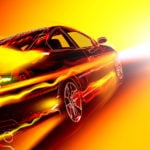 image - graphic art rendering of car moving fast through hot, heated red, orange, yellow color streams and heat fx