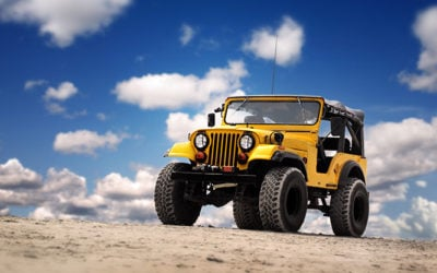 image of yellow Jeep 4x4, big tires, rough and tough off-roading