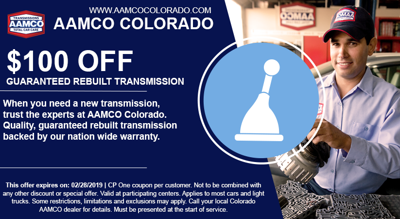coupon for $100 off rebuilt transmission with image of mechanic and shifter