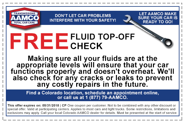 coupon for free fluid check and top off