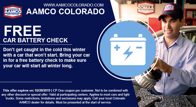 coupon for free battery check at aamco colorado with image of mechanic and car battery