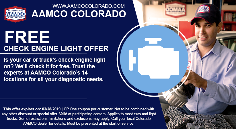 coupon for free check engine light service with image of mechanic and car engine