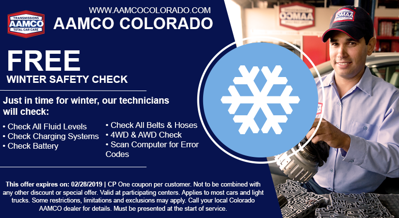 coupon for free winter car check with image of mechanic and snow flake