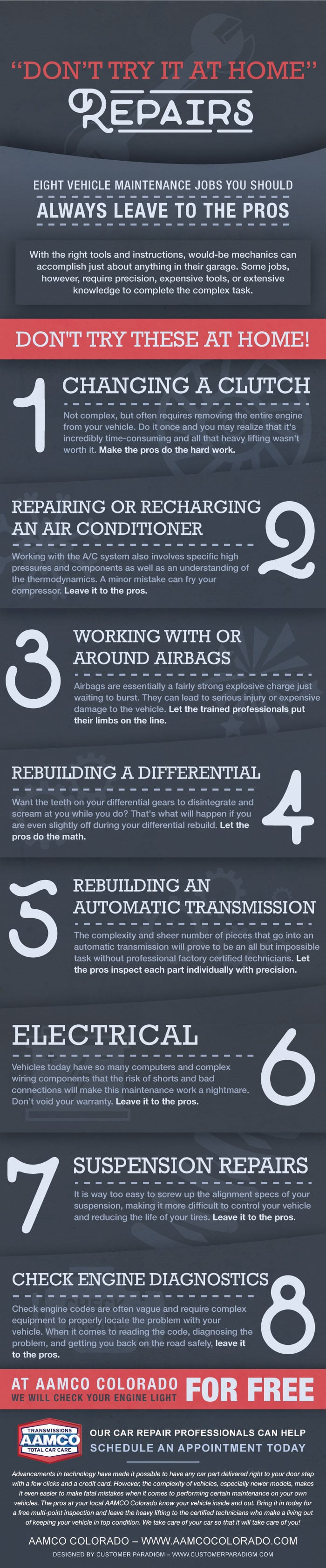 Infographic illustrating  Vehicle Repair or Maintenance You should not try at home